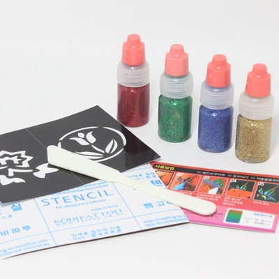 NEW! 4Color Glitter Temporary Tattoos Kit / Beautifully shiny color / Stencil