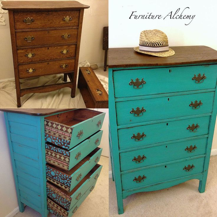 This is what I should do with that dresser in the mudroom. I love the stained top, turquoise body and stencilled drawers!