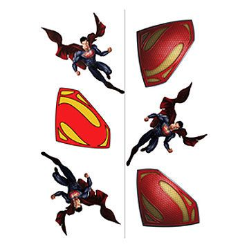 Superman Temp Tattoos (includes 2 sheets, that can be torn into 4 favors, in a pack)