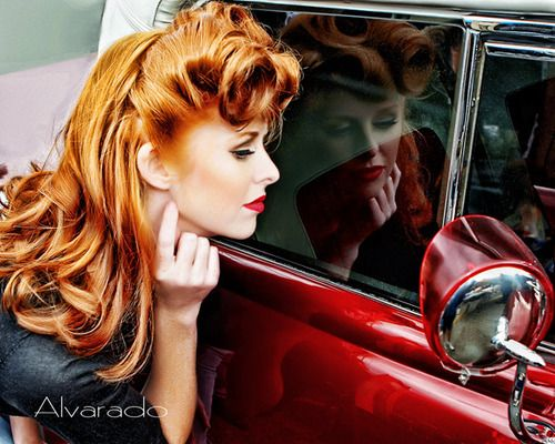 red hair, pinup, rolls: Hair Colors, Retro Hair, Vintage Hair, Red Hair, Victorious Rolls, Pinup, Redhair, Pin Up, Red Head