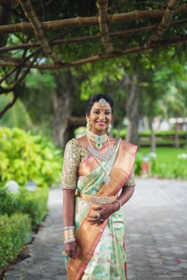 South Indian Bride - Manish & Kalai wedding story | WedMeGood | Bride in a Beautiful Gold and Sea Green Saree with a Mirrored Blouse and Diamond Jewlery#wedmegood #indianbride #indianwedding #southindianbride #southindianwedding #bridal