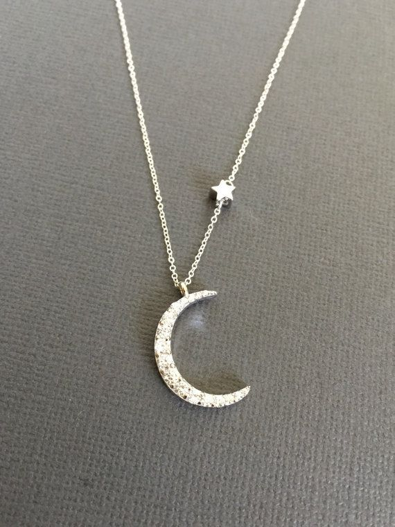 925 Silver Crescent Moon Necklace Star necklace Star by Muse411