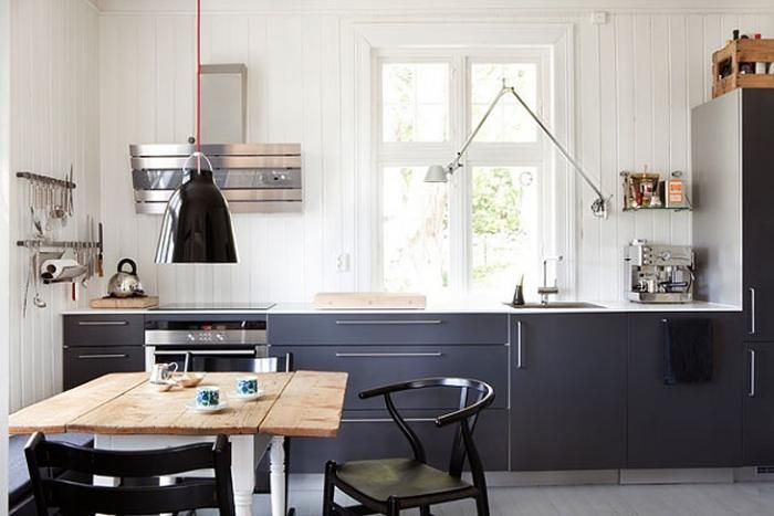 Steal This Look: Modern Norwegian Kitchen : Remodelista: Lamps, Scandinavian Kitchens, Dark Cabinets, Cabins Kitchens, Scandinavian Style, Grey Kitchens, Norway Houses, Kitchens Layout, Modern Design
