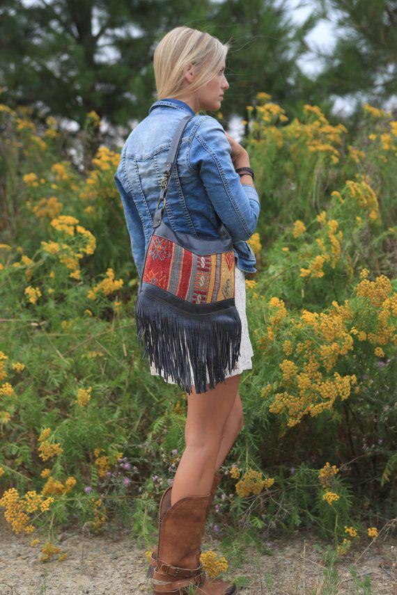 Leather Fringe Bag, Tribal Bag, Kilim Bag, Carpet Bag, Leather Hobo, Southwestern Bag, Leather Satchel, Leather Cross Body, Textile Bag