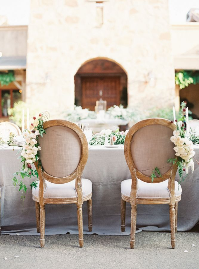Tuscan-inspired sweetheart chairs: http://www.stylemepretty.com/2016/06/06/a-sonoma-wedding-inspired-by-old-world-tuscany/ | Photography: Michele Beckwith - http://michelebeckwith.com/