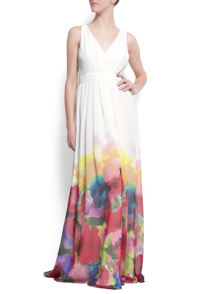 Watercolor flower maxi-dress
