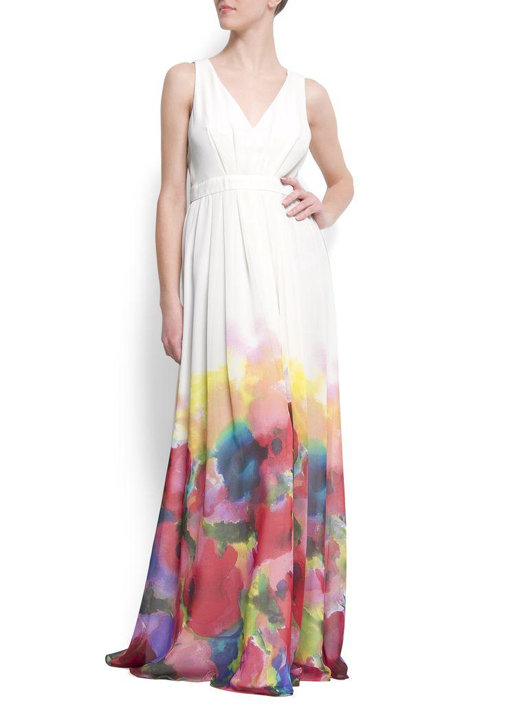 Begonia Dress - Maxi-jurk met aquarel bloemen - MANGO.