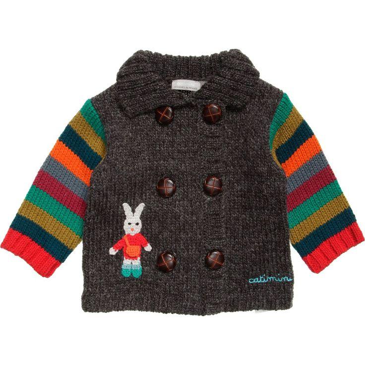 Catimini Baby Boy Grey Knitted Cardigan  at Childrensalon.com