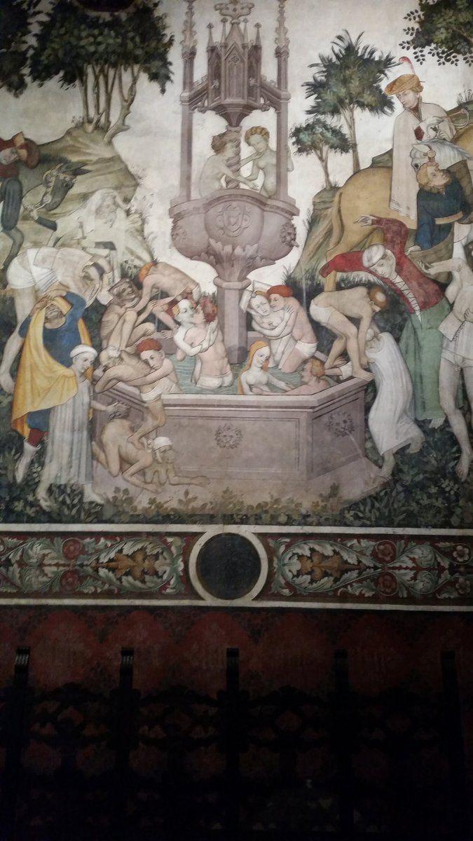 Maestro della Manta Affreschi Salone baronale, part. Fontana della giovinezza