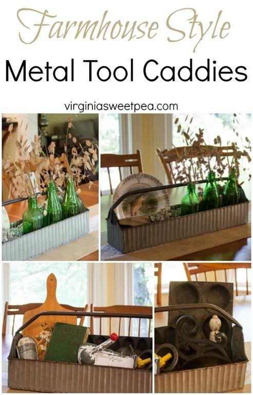 Farmhouse Style Metal Tool Caddies - virginiasweetpea.com