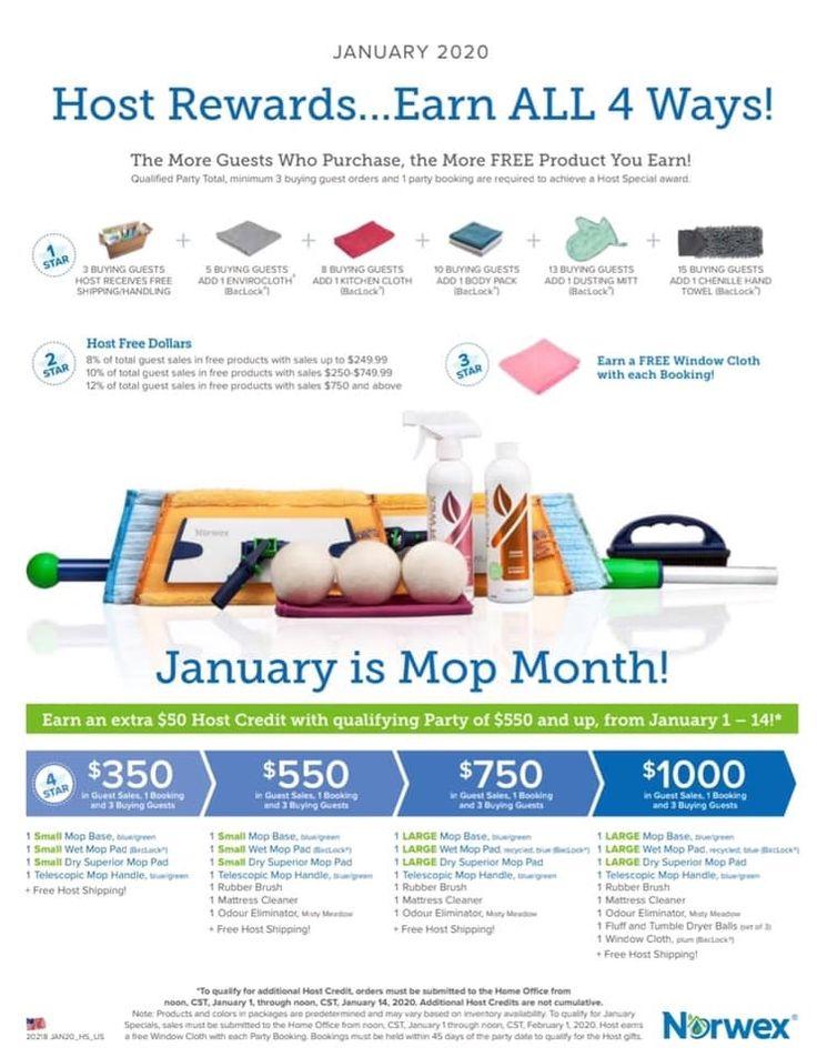 January 2020 Host Rewards Host Rewards Norwex Hosting