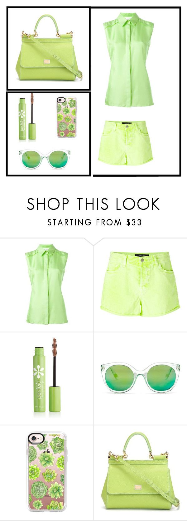 """""""The Color Green"""" by robot-sushi ❤ liked on Polyvore featuring Maison Margiela, J Brand, Per-fékt Beauty, gx by Gwen Stefani, Casetify and Dolce&Gabbana"""