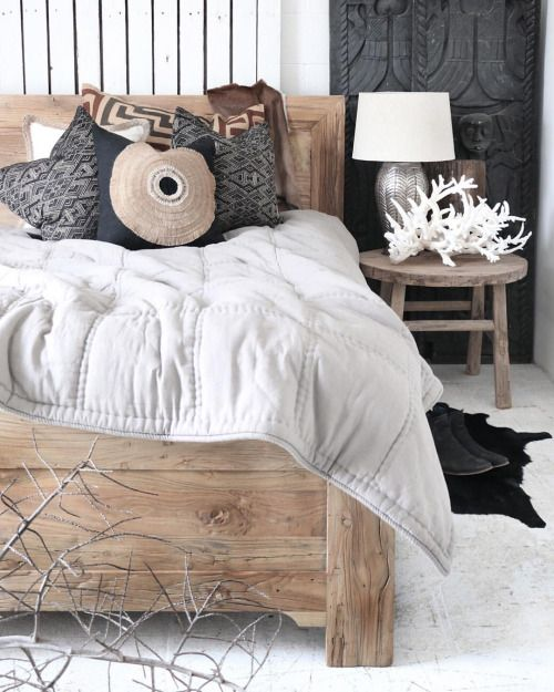 Village - Casual Rustica Simple & casual earthy tones set the tone for a space to rest & reflect. ••• Featured: Brooklyn Elm Bed, Herringbone Lamp, Stag-horn Coral & Black Shield Cushion.
