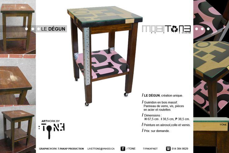 ** Le Dégun **. Nouveau mobilier de la collection MobiTone, par l'artiste-peintre Tone.  www.t-pakap.net