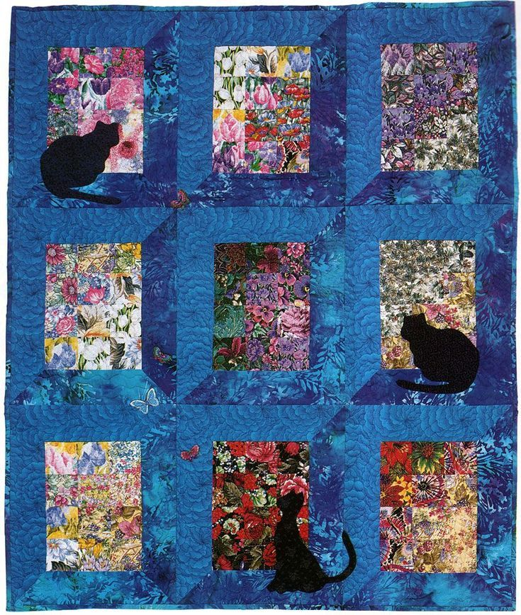 Make a Watercolor Quilt Filled With Kitties and Butterflies