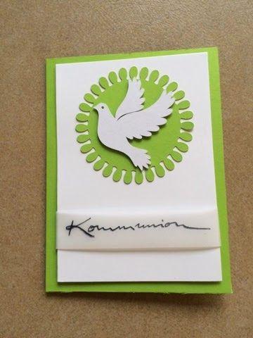 Kreativ-mit-Tina by Tina Hertrich: Kommunionkarte # 2 Stempel von Alexandra Renke. Taube aus den Sil Store.