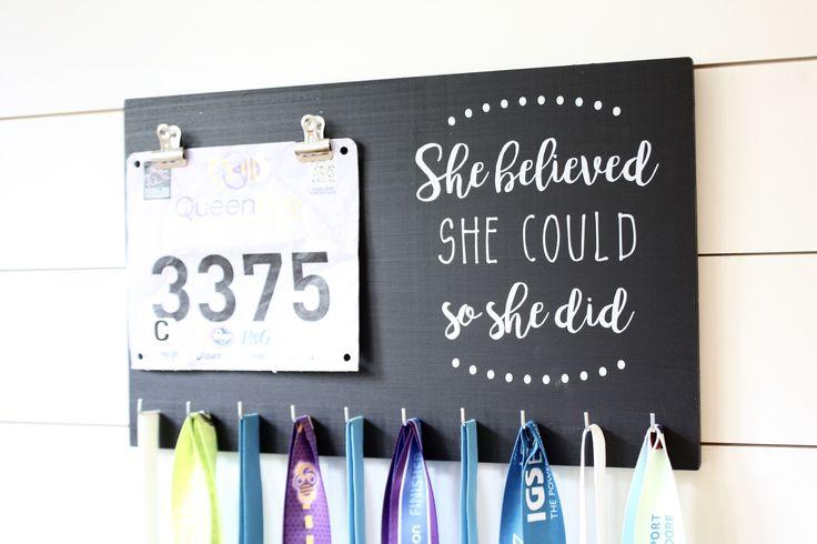Race Bib & Medal Holder - She Believed She Could So She Did