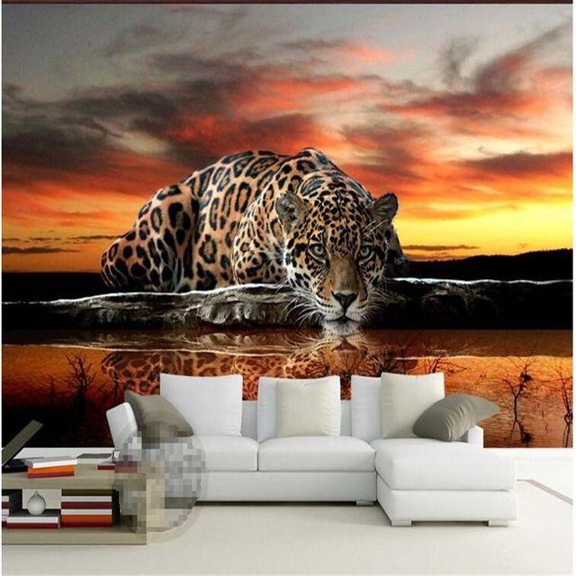 Sob encomenda da foto papel de parede de Alta qualidade leopardo revestimento de parede sofá da sala quarto TV cenário wallpaper mural papel de parede