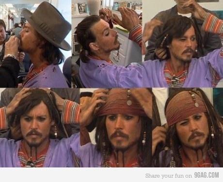 Johnny Depp's transformation into Jack Sparrow.