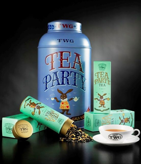 TWG Tea Party Tea black tea canister,  tin and box ... decorated with art of Alice in Wonderland's White Rabbit, c. 2010s, Singapore