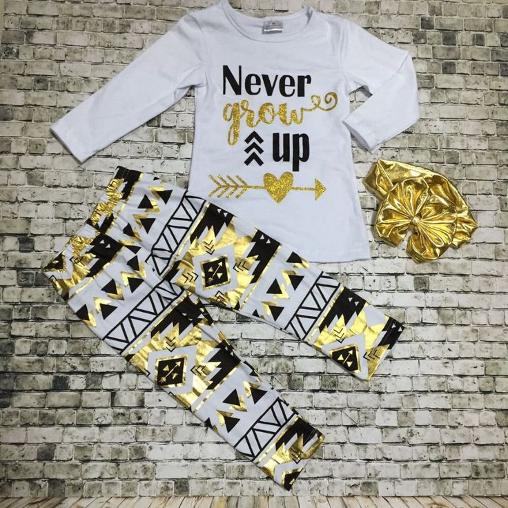 Preorder-Never Grow up Aztec Pant Set-includes bow