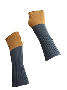 Yoon womens 'phalange-less' charcoal/camel gloves  FINGERLESS :)