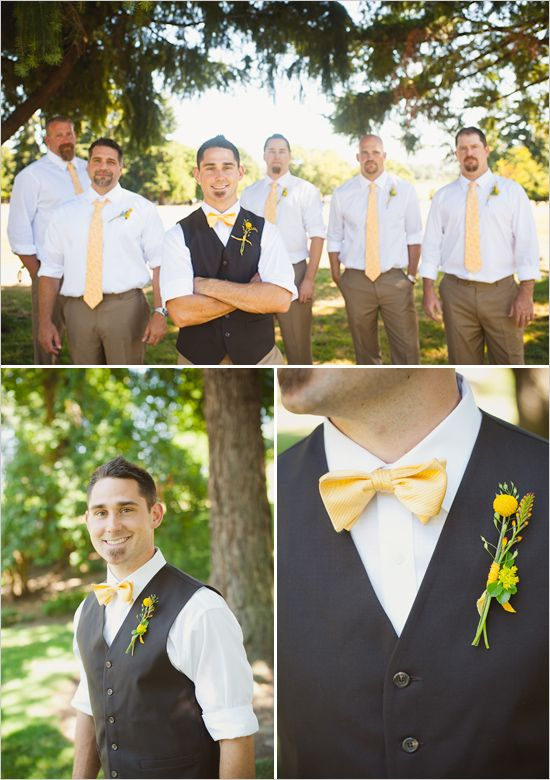 groomsmen looks I love all the yellow - they're not grey, but I love the look! khaki pants, white shirt, yellow tie, groom with different color vest and bow tie