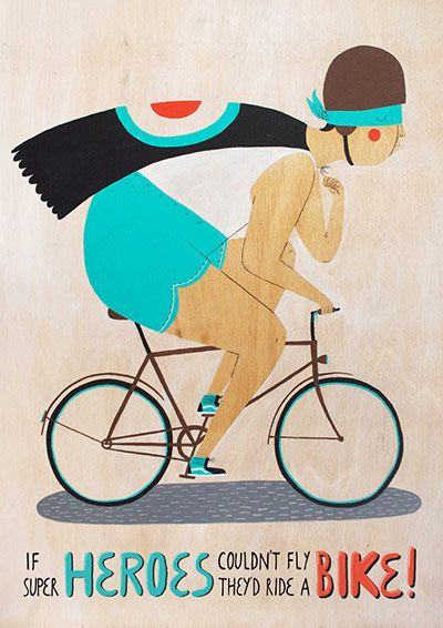 Bicycles, Evgenia Barinova, Cycling Heroes, Illustration, Graphics Design, Superheroes, Super Heroes, Couldn T Fly, Riding A Bikes