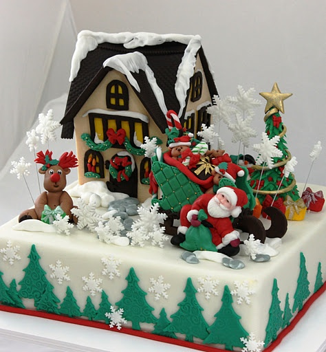 Santa  must have fell on the ground with that heavy bag! Lol. viorica's cakes