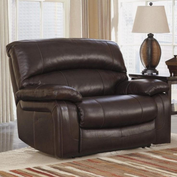 Awesome wide genuine dark leather reclining lounge chair