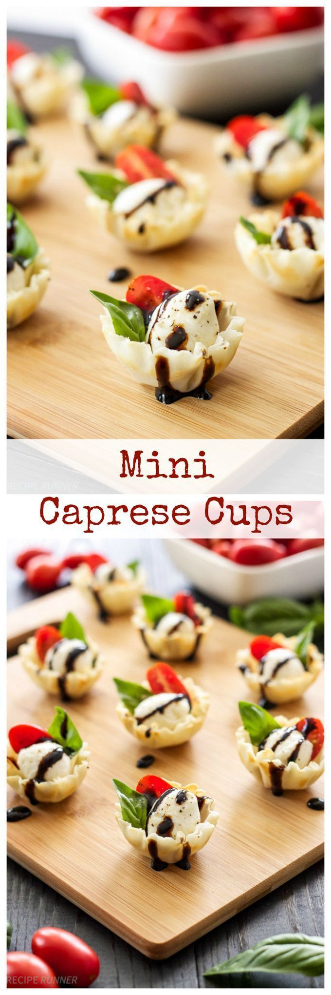 Mini Caprese Cups | Caprese salad stuffed into a mini phyllo cup and drizzled with balsamic glaze! An easy to make one bite appetizer!