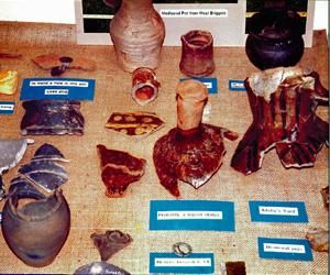 Archaeological finds on display at Whittlesey Museum.