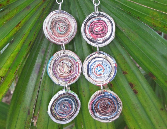 Recycled Magazine Paper Earrings, $30.00