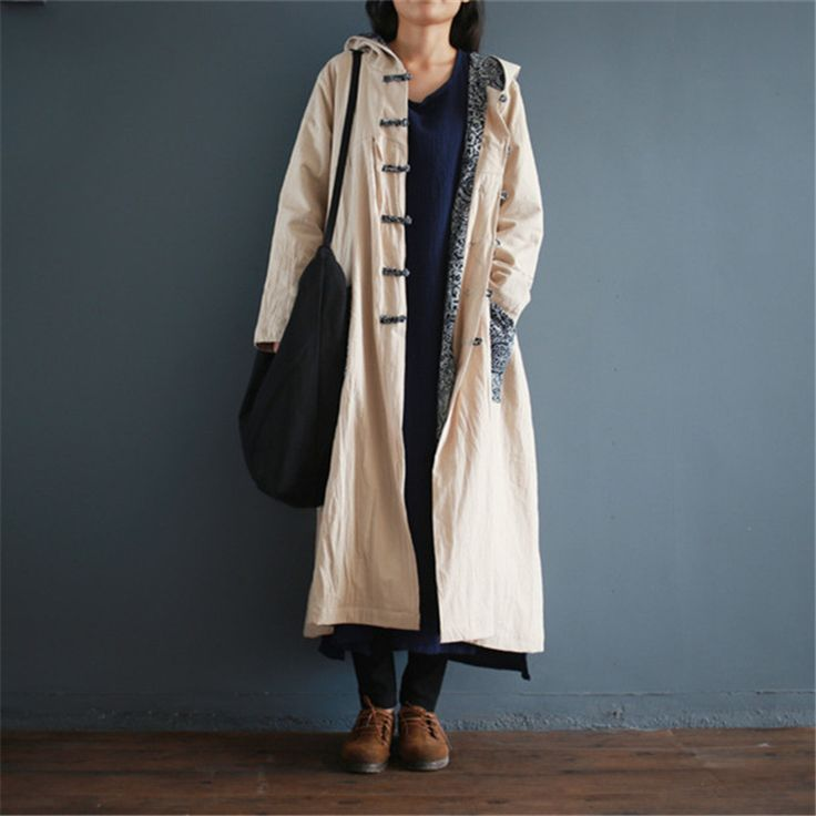Find More Trench Information about Johnature Women Cotton Linen Trench Coats Hooded Print Blue And White Vintage 2016 Autumn Winter New Loose Warm Plus Size Trench,High Quality linen sport coat,China linen overalls Suppliers, Cheap coat fashion from Johnature Store on Aliexpress.com