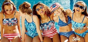 Be in style with this season's coolest swim trends at Justice at the Colonial Park Mall, Harrisburg, Pa! Shop half sizes in tankinis and one-piece styles, sizes 8½ - 18½. all suits & cover ups in sizes 6-20.