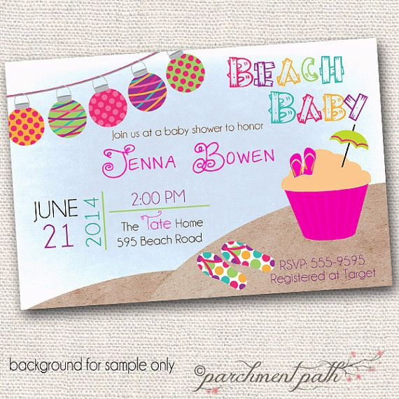 beach baby shower invitation summer baby shower girl luau baby shower
