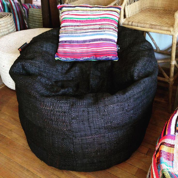Custom Bori Bori Bean Bag / Round bean bag made up of over dyed upcycled material