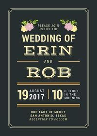Custom printable wedding invitations available in a variety of styles through Sweet Frivolity.   https://www.sweetfrivolity.com/product-page/floral-chalkboard-invitation-printable-file
