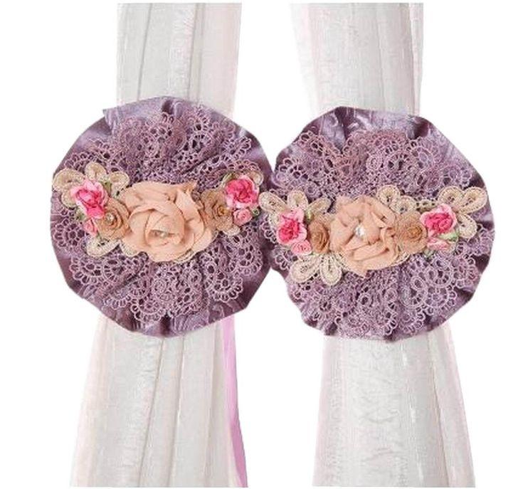 [Purple] 1 Pair Lace Flowers Curtain Tiebacks Curtain Buckles Holdbacks