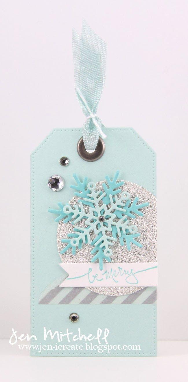 Christmas Gift Tag, Tis the Season, snowflakes, washi tape, gift tag, seam binding ribbon, retro sketches, jen-icreate.blogspot.com