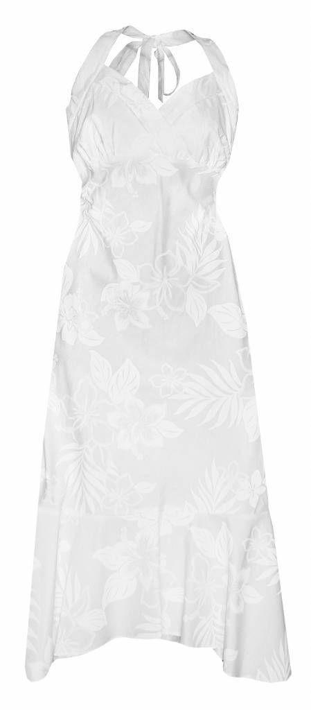 Hibiscus Shadows Hawaiian Print Halter Strap Dress in White, Tropical Wedding Prints, 328-3585_White - Paradise Clothing Company
