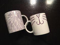 DIY Sharpie Mug. I like the kitty one.