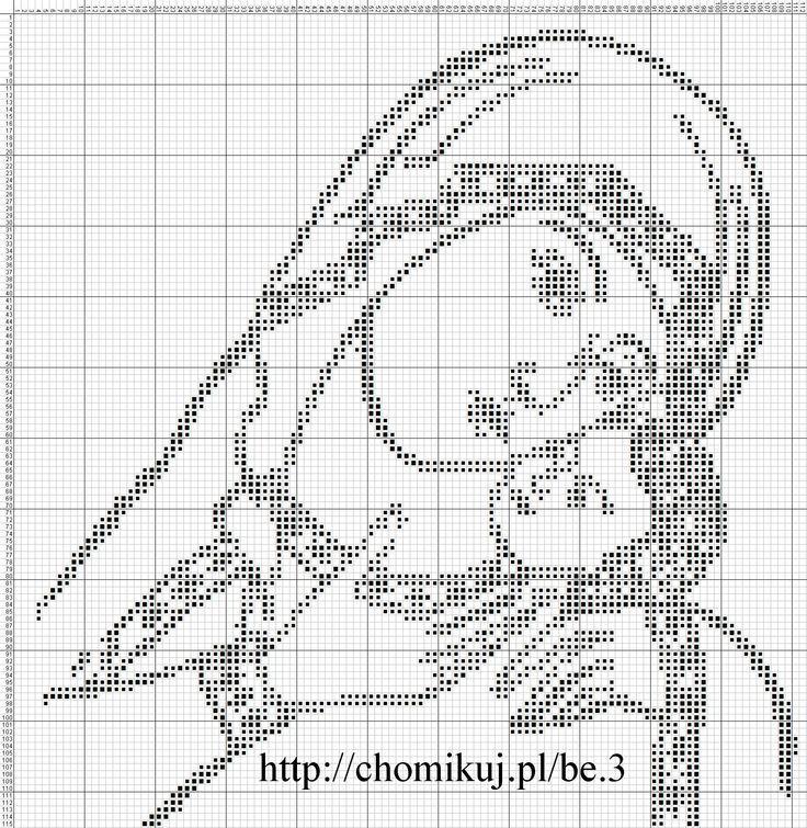 virgen con niño monocolor se puede hacer en negro o en punto de cruz