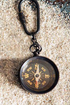 Antik sárgaréz iránytű kulcstartó
