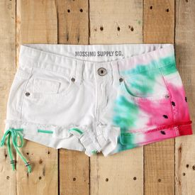 Make these sweet summer shorts with some tie dye and black rhinestones.