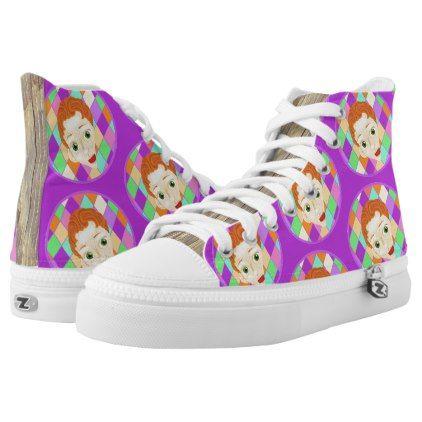 Pinocchio (wood grain) hi-top-tennis-shoe High-Top sneakers - wood gifts ideas diy cyo natural