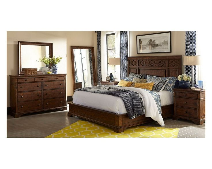 6 Piece Queen Bedroom Set In Distressed Brown   Sam Levitz Furniture