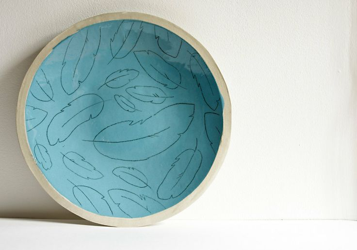 large plate. decorative plate. blue feathers. handmade by karoArt, €55.00