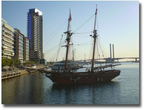 The Enterprize Tall Ship at the Victoria Harbour, Melbourne Docklands compliments of http://www.flickr.com/photos/bjd85/1444222328/