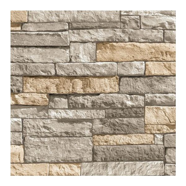 Ledgestone Grey and Terracotta Wallpaper from the Modern Living... ($50) ❤ liked on Polyvore featuring home, home decor, wallpaper, wallpaper samples, gray home decor, gray wallpaper, faux wallpaper, grey wallpaper and graham brown wallpaper